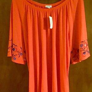 Hg5 Westport tangerine peasant blouse